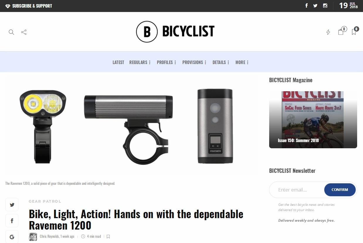 美国BICYCLIST对PR1200自行车灯的评测